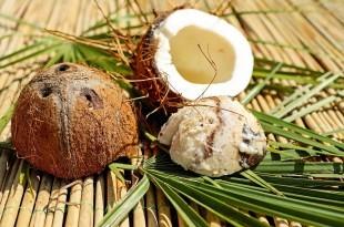 eine aufgeschnittene Kokosnuss