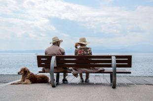 zwei Menschen auf einer Parkbank mit einem Hund